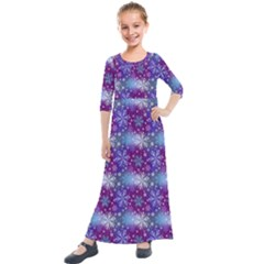 Snow Blue Purple Tulip Kids  Quarter Sleeve Maxi Dress
