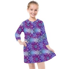 Snow Blue Purple Tulip Kids  Quarter Sleeve Shirt Dress