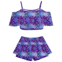 Snow Blue Purple Tulip Kids  Off Shoulder Skirt Bikini