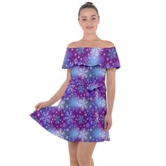 Snow Blue Purple Tulip Off Shoulder Velour Dress by Jojostore