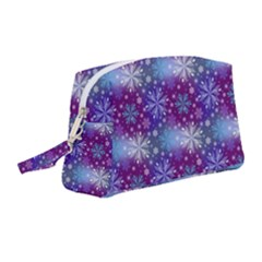 Snow Blue Purple Tulip Wristlet Pouch Bag (medium) by Jojostore