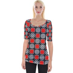 Pattern Square Wide Neckline Tee by Alisyart