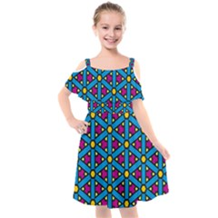 Lines Blue Seamless Kids  Cut Out Shoulders Chiffon Dress by AnjaniArt