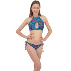 Lines Blue Seamless Cross Front Halter Bikini Set by AnjaniArt