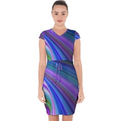 Background Abstract Curves Capsleeve Drawstring Dress
