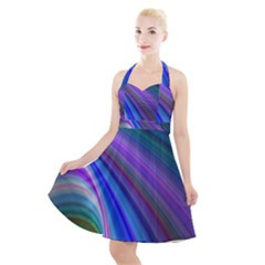 Background Abstract Curves Halter Party Swing Dress