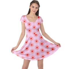 Texture Star Backgrounds Pink Cap Sleeve Dress
