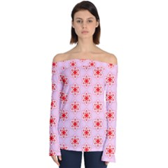Texture Star Backgrounds Pink Off Shoulder Long Sleeve Top
