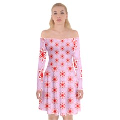 Texture Star Backgrounds Pink Off Shoulder Skater Dress