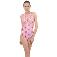 Texture Star Backgrounds Pink Halter Front Plunge Swimsuit