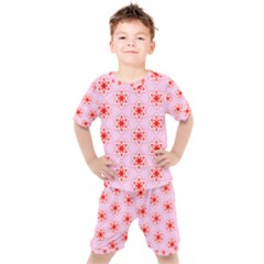 Texture Star Backgrounds Pink Kids  Tee And Shorts Set by HermanTelo