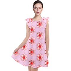 Texture Star Backgrounds Pink Tie Up Tunic Dress