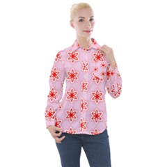 Texture Star Backgrounds Pink Women s Long Sleeve Pocket Shirt
