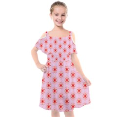 Texture Star Backgrounds Pink Kids  Cut Out Shoulders Chiffon Dress