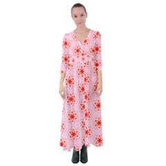 Texture Star Backgrounds Pink Button Up Maxi Dress