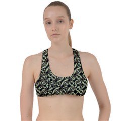 Modern Abstract Camouflage Patttern Criss Cross Racerback Sports Bra by dflcprintsclothing