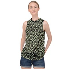 Modern Abstract Camouflage Patttern High Neck Satin Top by dflcprintsclothing