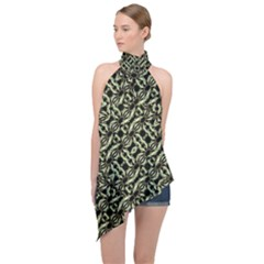 Modern Abstract Camouflage Patttern Halter Asymmetric Satin Top by dflcprintsclothing