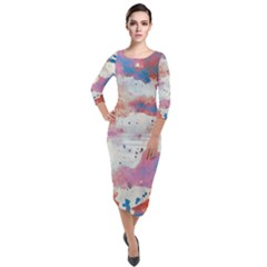 Watercolor Splatter Red/blue Quarter Sleeve Midi Velour Bodycon Dress