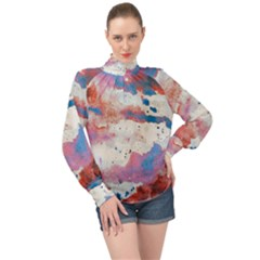 Watercolor Splatter Red/blue High Neck Long Sleeve Chiffon Top