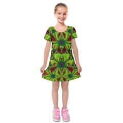 Abstract Art Fractal Artwork Kids  Short Sleeve Velvet Dress by Pakrebo