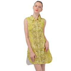 Flowers Decorative Ornate Color Yellow Sleeveless Shirt Dress