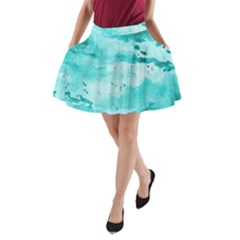 Watercolor Splatter Aqua A Line Pocket Skirt