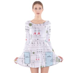 Circuits Electronics Atmel Long Sleeve Velvet Skater Dress