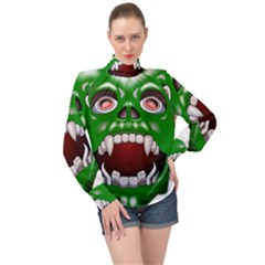 Monster Mask Alien Horror Devil High Neck Long Sleeve Chiffon Top by Bejoart