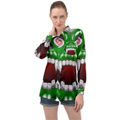 Monster Mask Alien Horror Devil Long Sleeve Satin Shirt