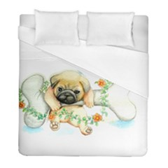 Pug Watercolor Cute Animal Dog Duvet Cover (full/ Double Size) by Bejoart