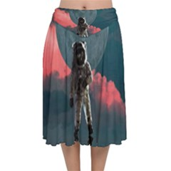 Astronaut Moon Space Nasa Planet Velvet Flared Midi Skirt