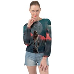 Astronaut Moon Space Nasa Planet Banded Bottom Chiffon Top