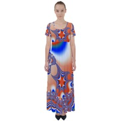 Abstract Art Artwork Fractal 2 High Waist Short Sleeve Maxi Dress by Pakrebo
