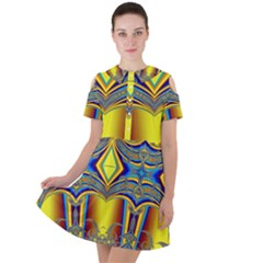 Abstract Art Design Digital Art Short Sleeve Shoulder Cut Out Dress