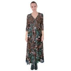 Art Artwork Fractal Digital Art Floral Button Up Maxi Dress