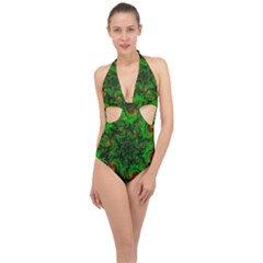 Art Artwork Fractal Digital Art Green Halter Front Plunge Swimsuit
