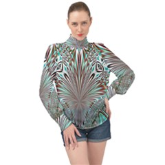 Crystal Design Crystal Pattern Glass High Neck Long Sleeve Chiffon Top