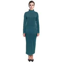 Teal Green Turtleneck Maxi Dress