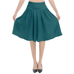 Teal Green Flared Midi Skirt