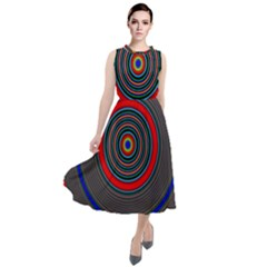 Art Design Fractal Circle Round Neck Boho Dress