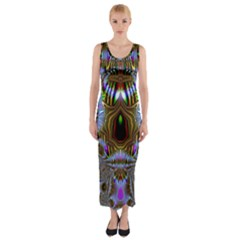 Art Artwork Fractal Digital Art Fitted Maxi Dress