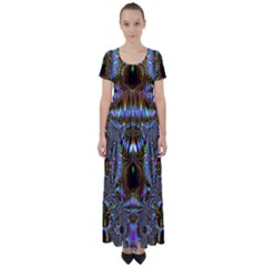 Art Artwork Fractal Digital Art High Waist Short Sleeve Maxi Dress