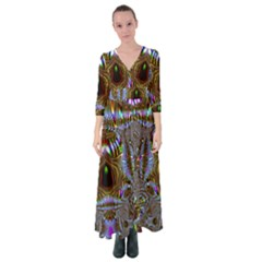 Art Artwork Fractal Digital Art Button Up Maxi Dress