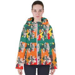 Retro Colors Texture                     Women s Hooded Puffer Jacket