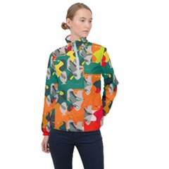 Retro Colors Texture                      Women Half Zip Windbreaker