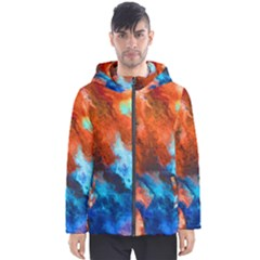Orange Blue Texture                      Men s Hooded Puffer Jacket by LalyLauraFLM