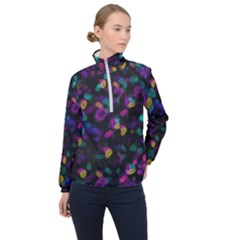 Neon Brushes                      Women Half Zip Windbreaker