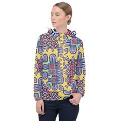 Shapes On A Yellow Background                      Women Hooded Front Pocket Windbreaker
