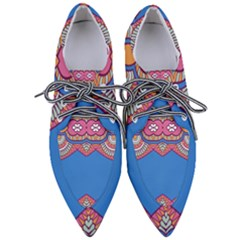 Shapes On A Blue Background                   Women s Pointed Oxford Shoes